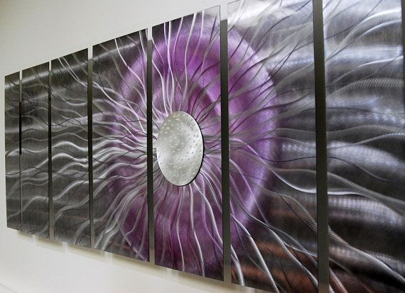 Statements2000 3D Metal Wall Art Panels Abstract Silver Purple Decor Jon Allen