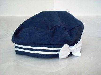 5cdaa29dbd2 Vintage NauticalNavy Sailor Hat Cap Beret Blue White Bow.