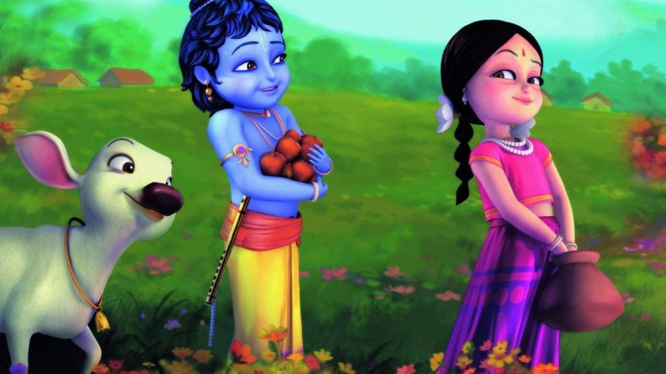 1366x768 Lord Krishna Cute Bal Radhey Krishna 3d Hd Desktop Lord Krishna Wallpapers Little Krishna Krishna Wallpaper