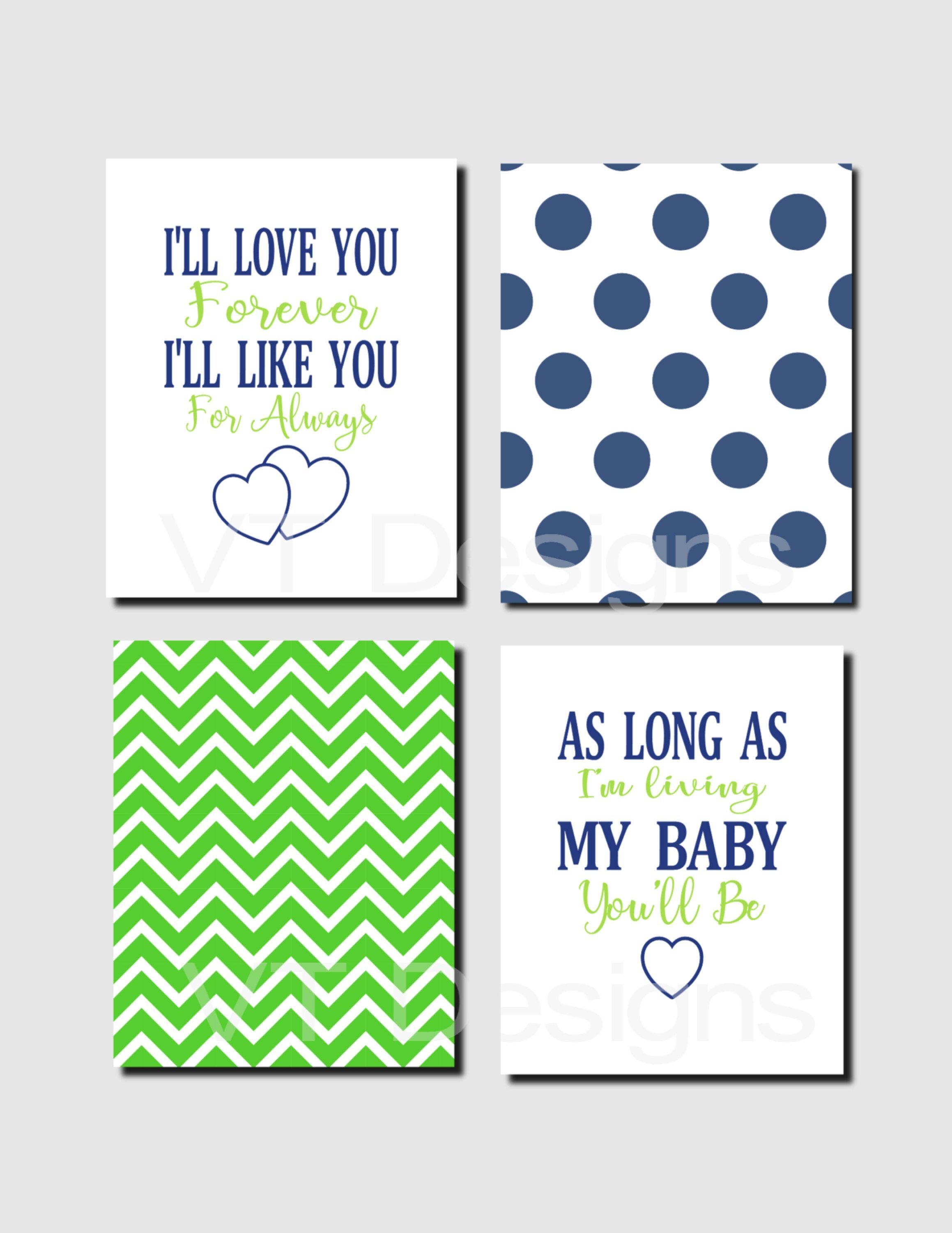 I Ll Love You Forever Quote Boy Nursery Wall Art Navy Green Nursery Art Quote Art Decor I