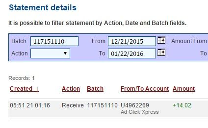 Get out of debt by doing something fun for a change! AdClickXpress is the top choice for passive income seekers.Making my daily earnings is fun, and makes it a very profitable! I am getting paid daily at ACX and here is proof of my latest withdrawal. This is not a scam and I love making money online with Ad Click Xpress. http://www.adclickxpress .is/?r=marina%20ivanov&p=mx