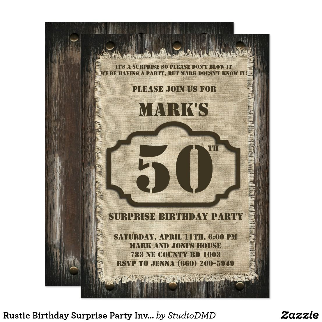 Rustic Birthday Surprise Party Invitation Surprise Party