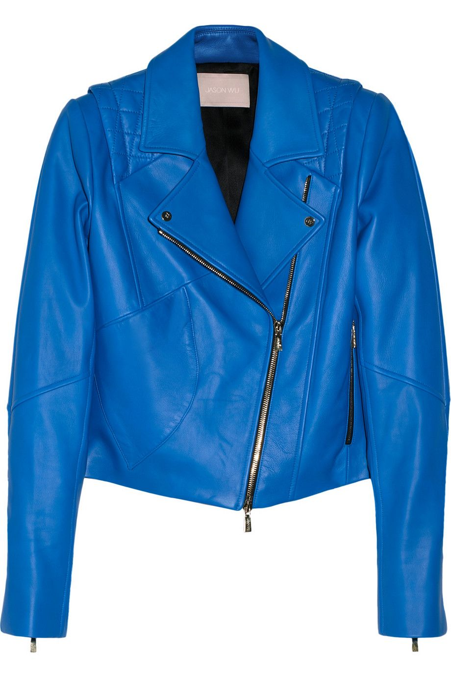 Bright Blue Leather Biker Jacket Jason Wu Collection Blue Leather Jacket Leather Jacket Biker Jacket Style [ 1380 x 920 Pixel ]