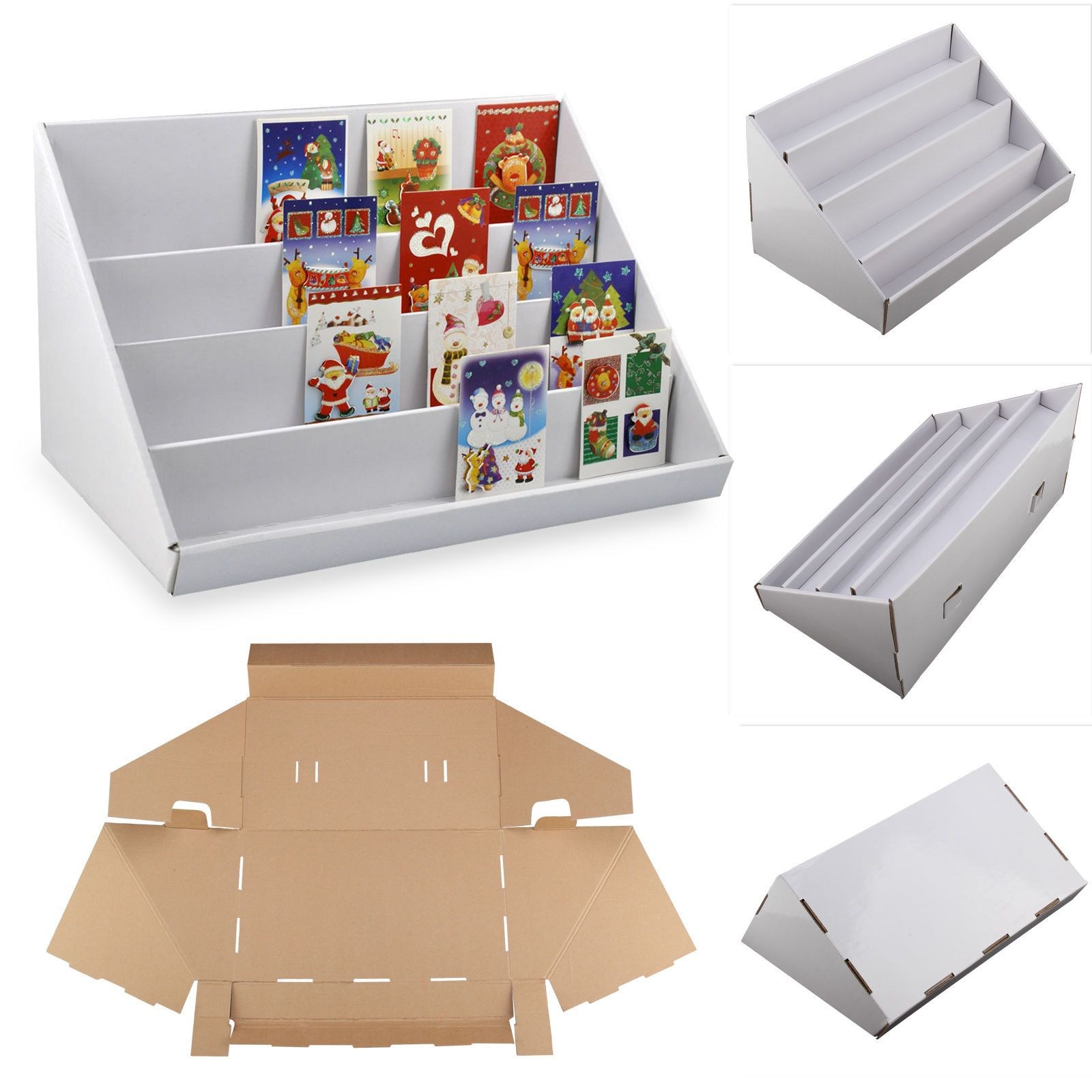 2 X White 4 Tier Collapsible Cardboard Greeting Card Display Stand