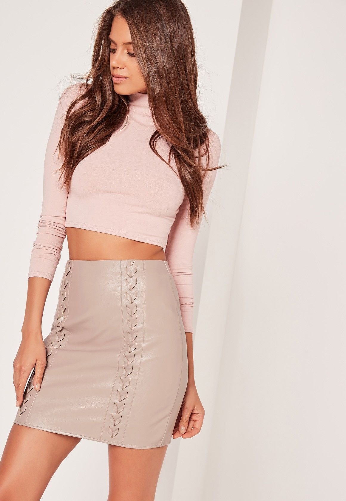 c8616a1cb Missguided - Whipstitch Front Faux Leather Mini Skirt Grey