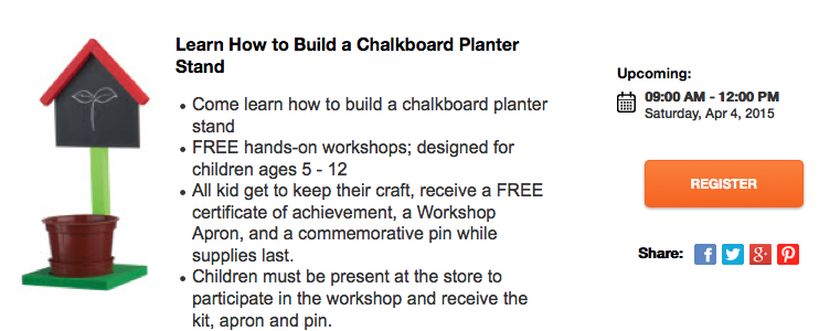 Free Kids Workshop On Saturday At Home Depot Chalkboards Money