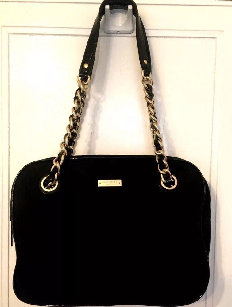 27c0260f6c3 Kate Spade Handbag Purse Black Bag Gold Chain Straps Kate Spade New ...