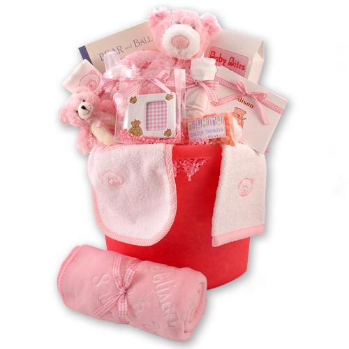 Bear Necessities Baby Girl Gift Basket | Baby girl gift ...