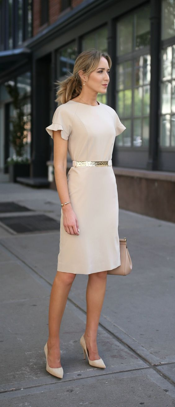 beige nude short sleeve sheath dress with flutter sleeves    hammered gold  nude accent waist belt    suede nude pointed toe pumps 9603430f52b7