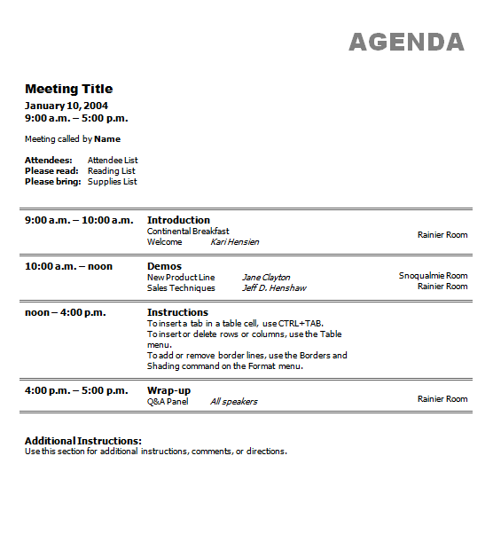 meeting agenda template 7. | Meeting agenda template ...
