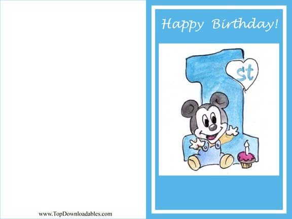 1st Birthday Disney Mickey Mouse Greeting Card – Free 1st Birthday Cards