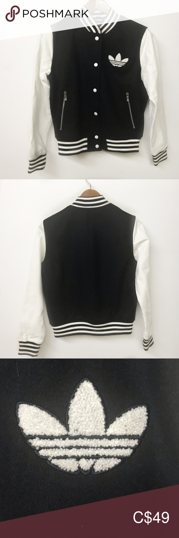 Adidas Varsity Jacket 40 Year Celebration limited Adidas Varsity Jacket 40 Year Celebration limited Trefoil Women's medium Excellent Used condition Body is 70% polyester 30% wool Lining 100% recycled polyester Sleeves 100% polyurethane adidas Jackets & Coats #varsityjacketoutfit