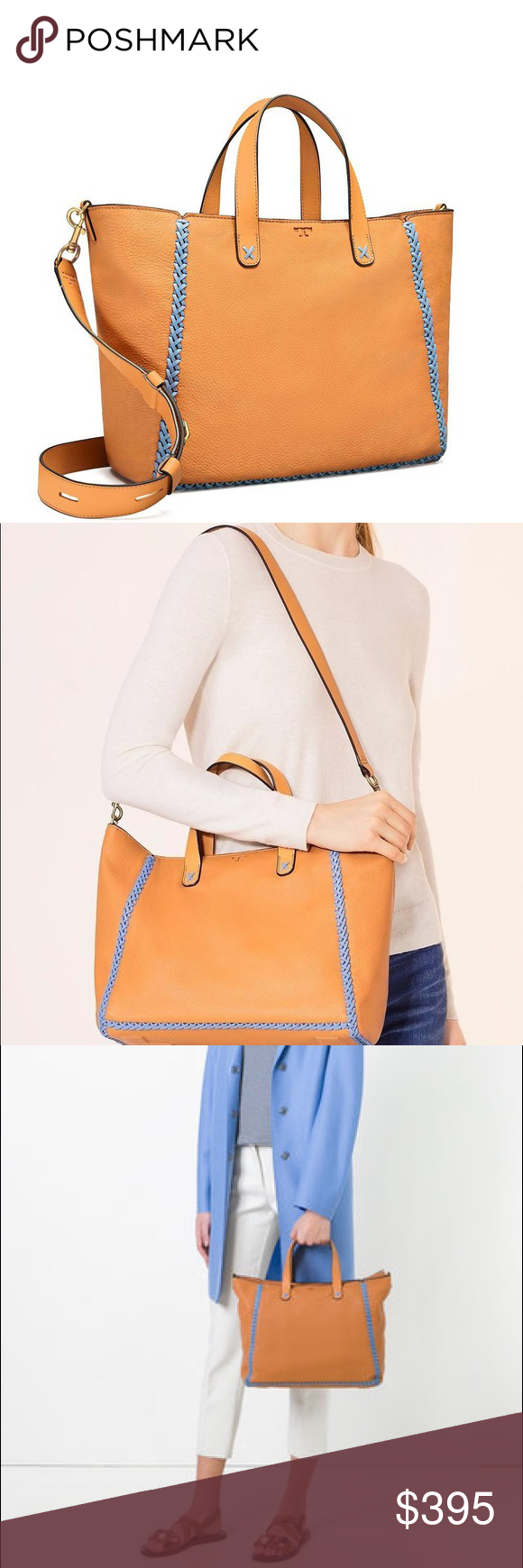 7ae854070c0 TORY BURCH Medium Whipstitch Leather Tote DETAILS  amp  CARE Color-pop  whipstitching livens up