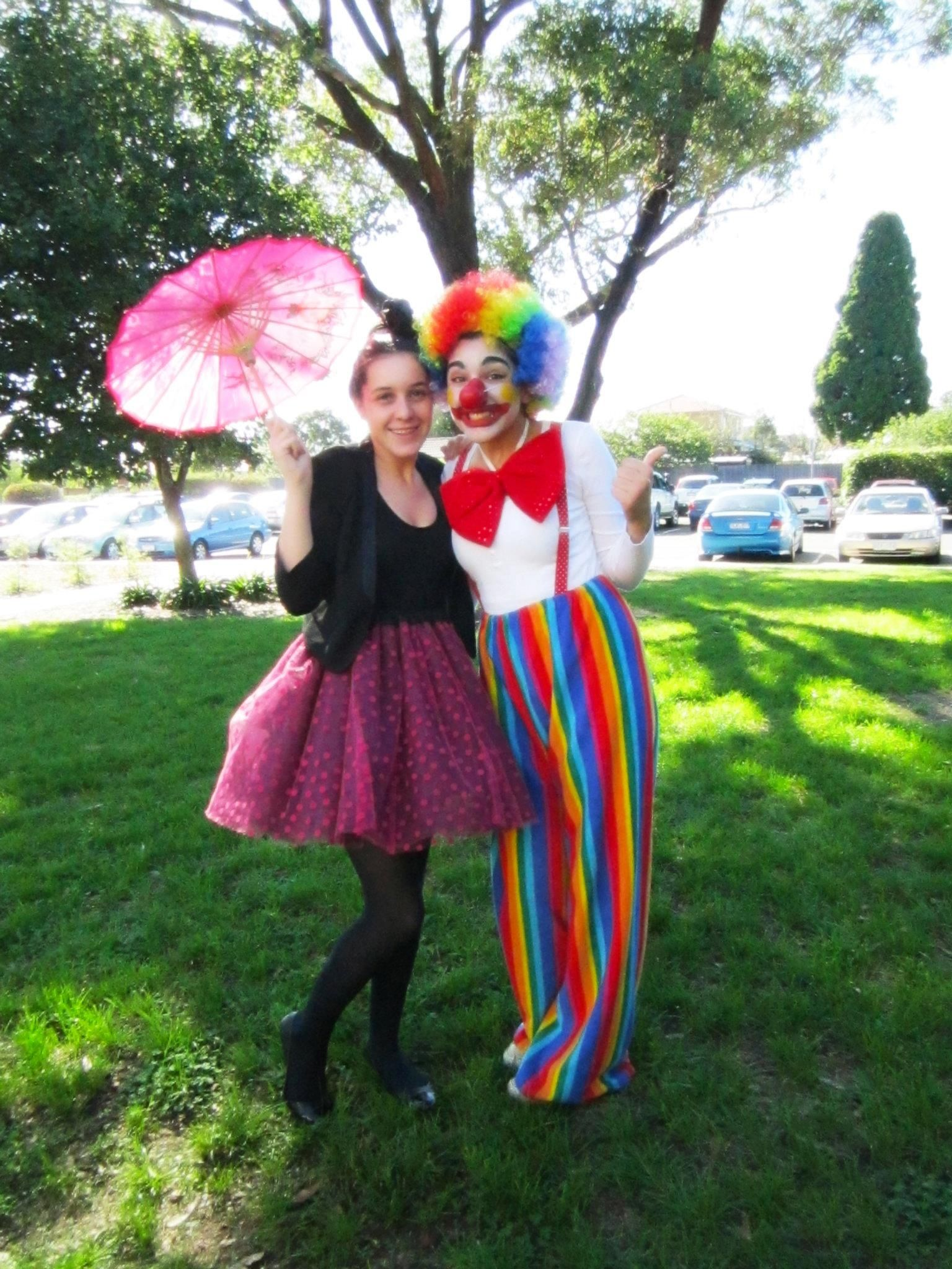Circus theme tight rope walker and clown circus themed