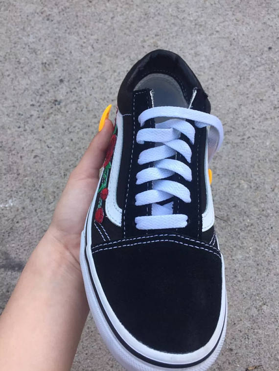 38cc07a0a007d2 Red ROSE EMBROIDERED Old Skool Vans Off the Wall Sneakers New w  Box  AUTHENTIC Custom Trendy BeSt Pr