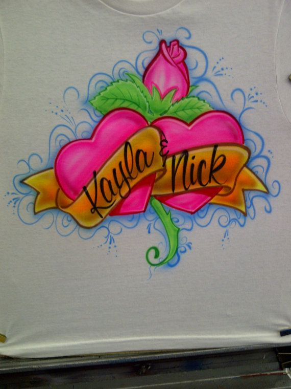 6273dc2f Airbrush Couples Pink Hearts w/ Rose Shirt Personalized w/ Names S M L XL  XXL. $12.99, via Etsy.