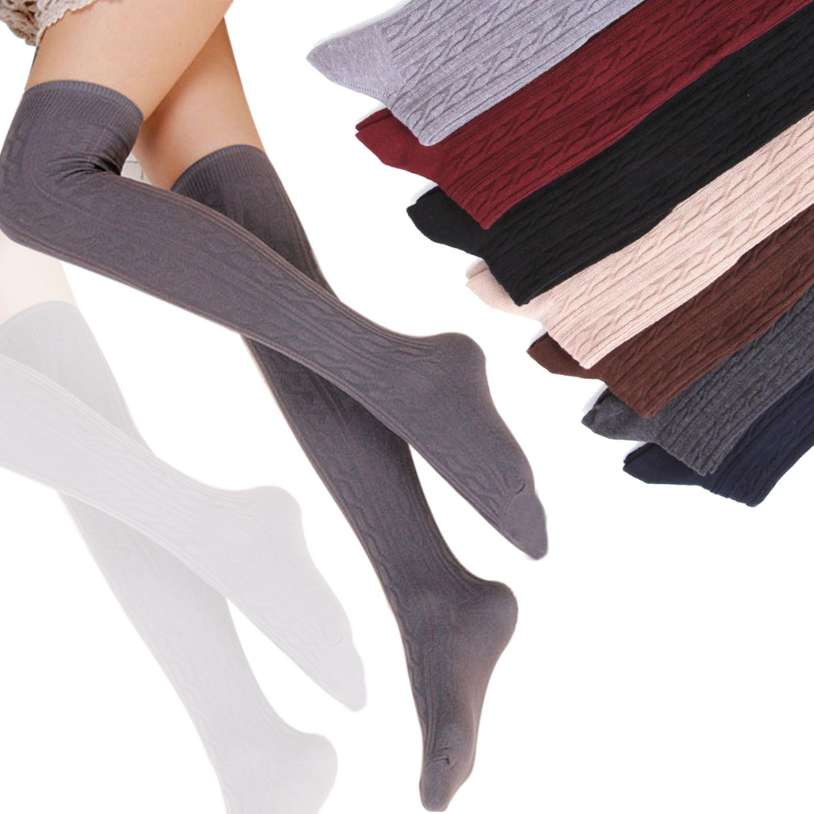 LADIES OVER THE KNEE SOCKS STOCKINGS THIGH HIGH WITH STRIPES HOLD UP