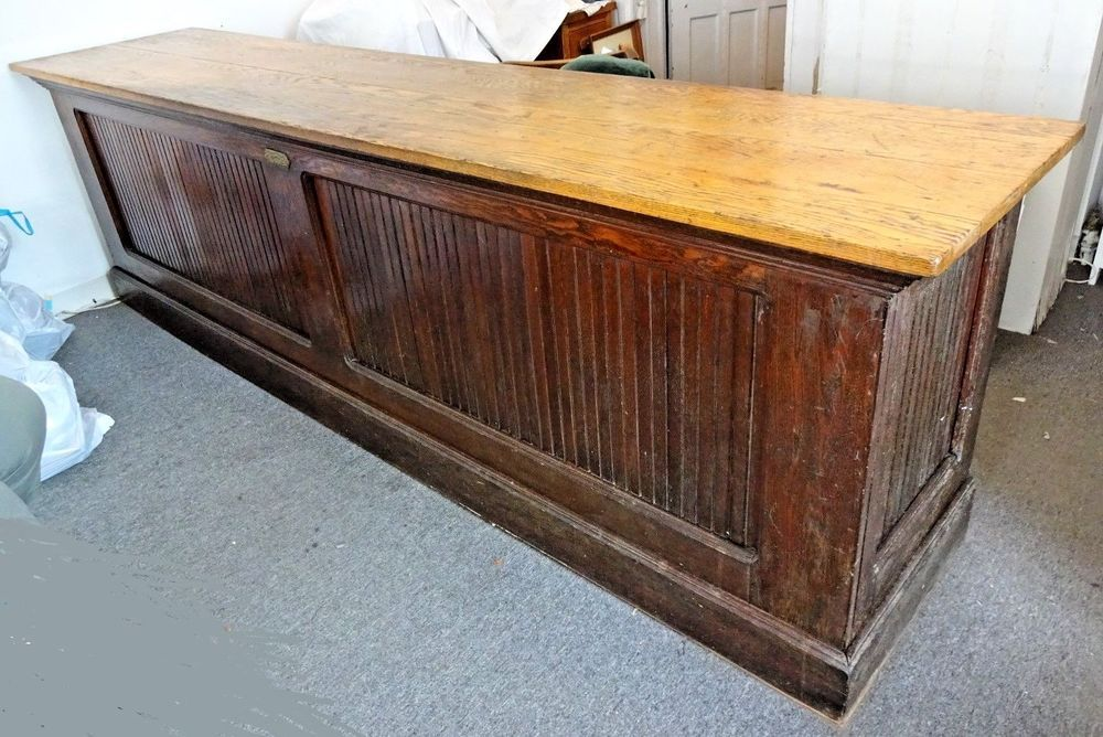 Antique Oak Mercantile Store Counter Made By C V Hill Trenton Nj 10 Long Solid Ebay Store Counter Oak Antiques
