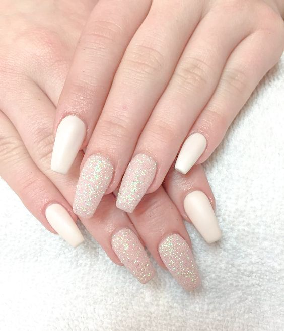 Sparkly coffin nails| long coffin acrylic nails| nude acrylic coffin ...