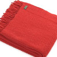 2 Pure New Wool Throws Red /& Cream Cobweave Blankets By Tweedmill