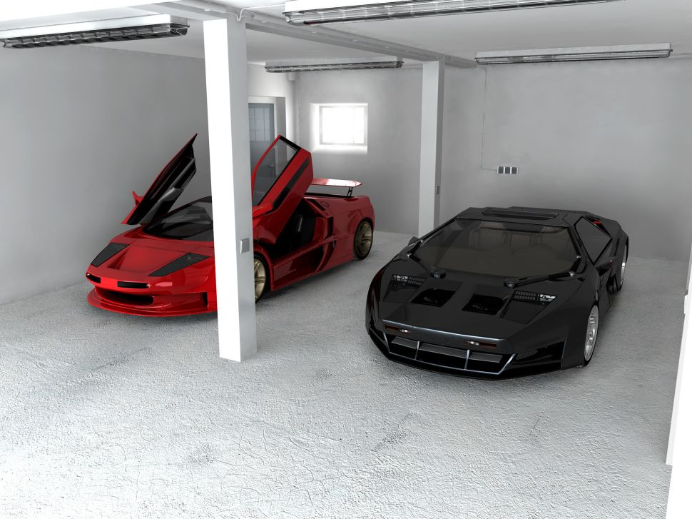 InteriorLight Grey Space For The Cool Car Garage Idea With High