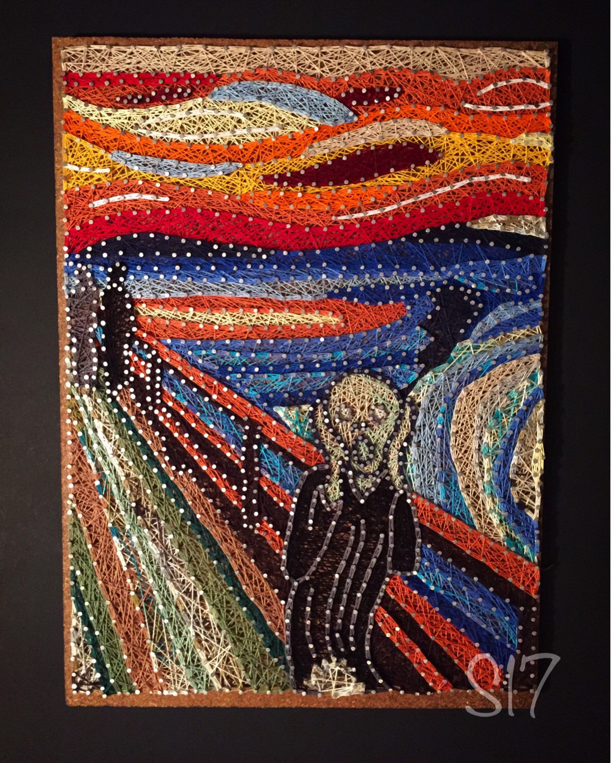 The Scream String Art, Edward Munch Thread Art, Famous Recreations