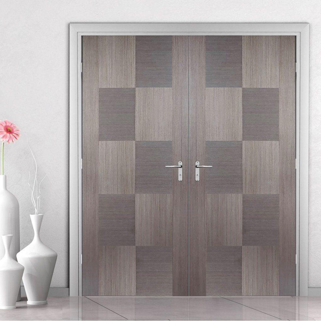 Apollo Chocolate Grey Flush Internal Door Pair Is 1 2 Hour Fire Rated And Prefinished Greydoors Grey Doors Doubldoors Int With Images Internal Doors Grey Doors Doors