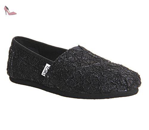 TOMS Femmes Noir Crochet Glitter Classic Espadrilles-UK 4 - Chaussures toms  (*Partner