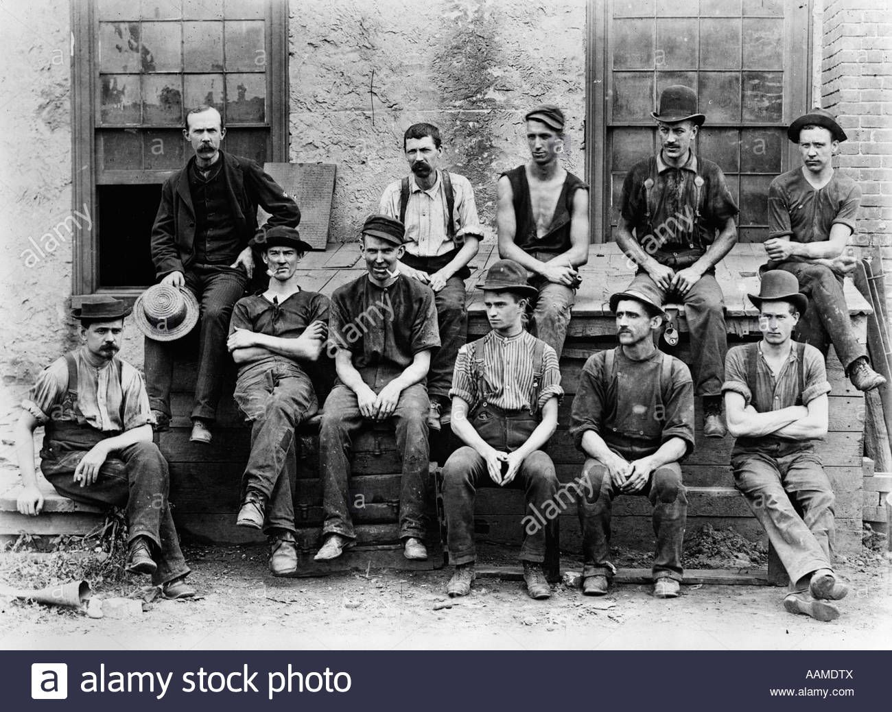 1890s 1900s Group Of 11 Factory Workers Seated Outside Of Building Oversized Art Victorian Photos Steampunk Couture