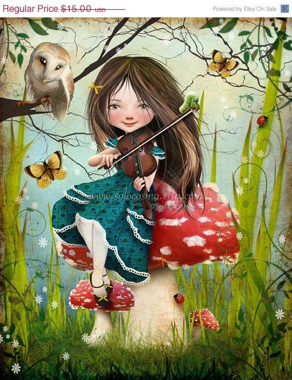 Violin Girl Playing Violin Art Whimsical Art
