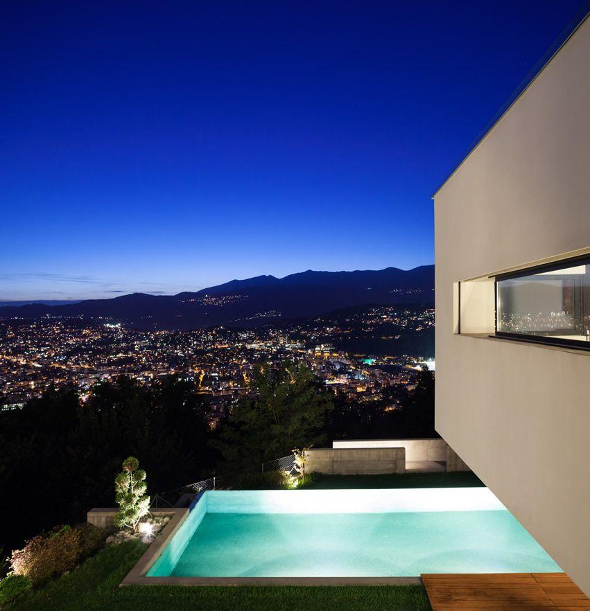 Modern House Pool City View Night Luxury Swimming Pools Swimming Pool Designs Pool Houses