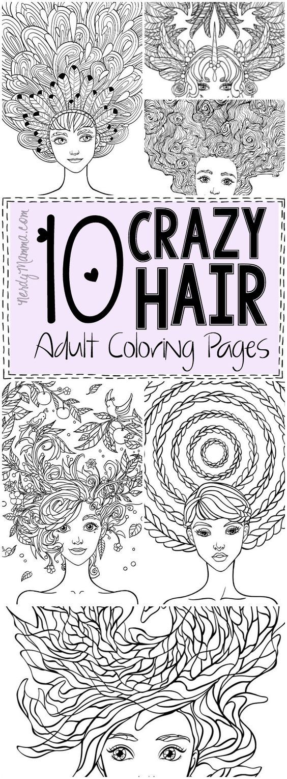 10 Crazy Hair Adult Coloring Pages | Ausmalbilder