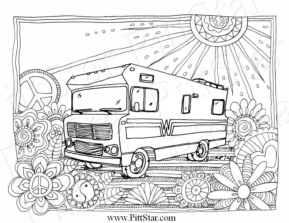 Instant Download Wimsical Winnebago Motorhome Printable Etsy Coloring Pages Coloring Books Cat Coloring Page