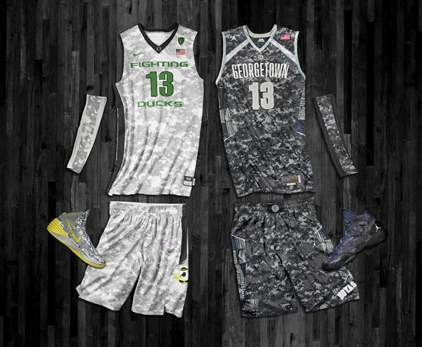 41e2c9cf3b2 Oregon s   Georgetown s Camouflage Basketball Uniforms for the Armed Forces  Classic