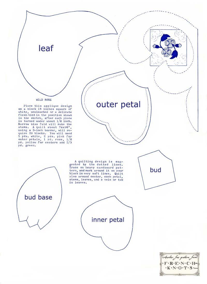 Wild Rose Applique Quilt Block Pattern | Quilt Blocks | Free