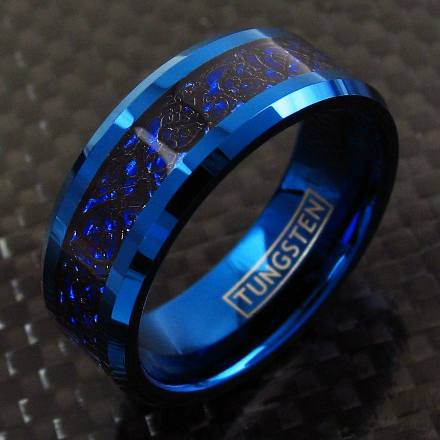 Stunning Blue Tungsten Ring With Black Celtic Dragon On Deep