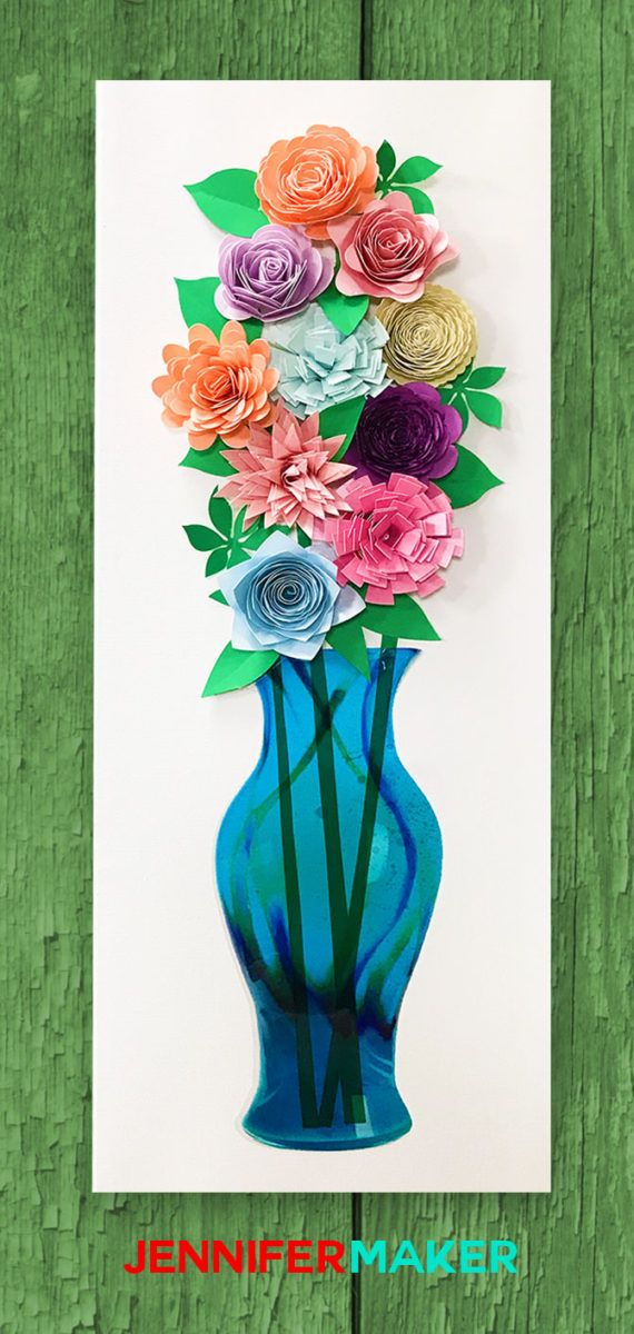 DIY Paper Flower Wall Art Mason Jars & Vases (With images