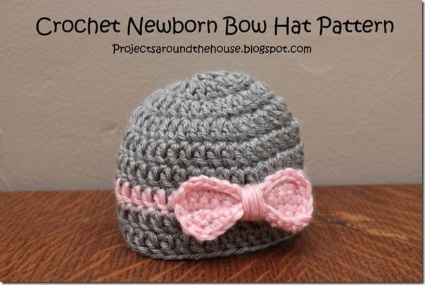 Crochet Newborn Easy Bow Hat Free Pattern | Crochet idea\'s ...