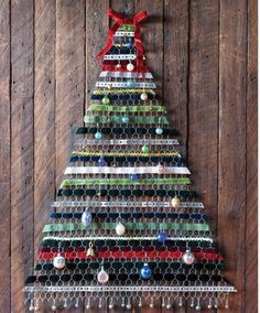 a diy tree from country living chicken wire velvet ribbon ornaments - Christmas Decorations With Chicken Wire