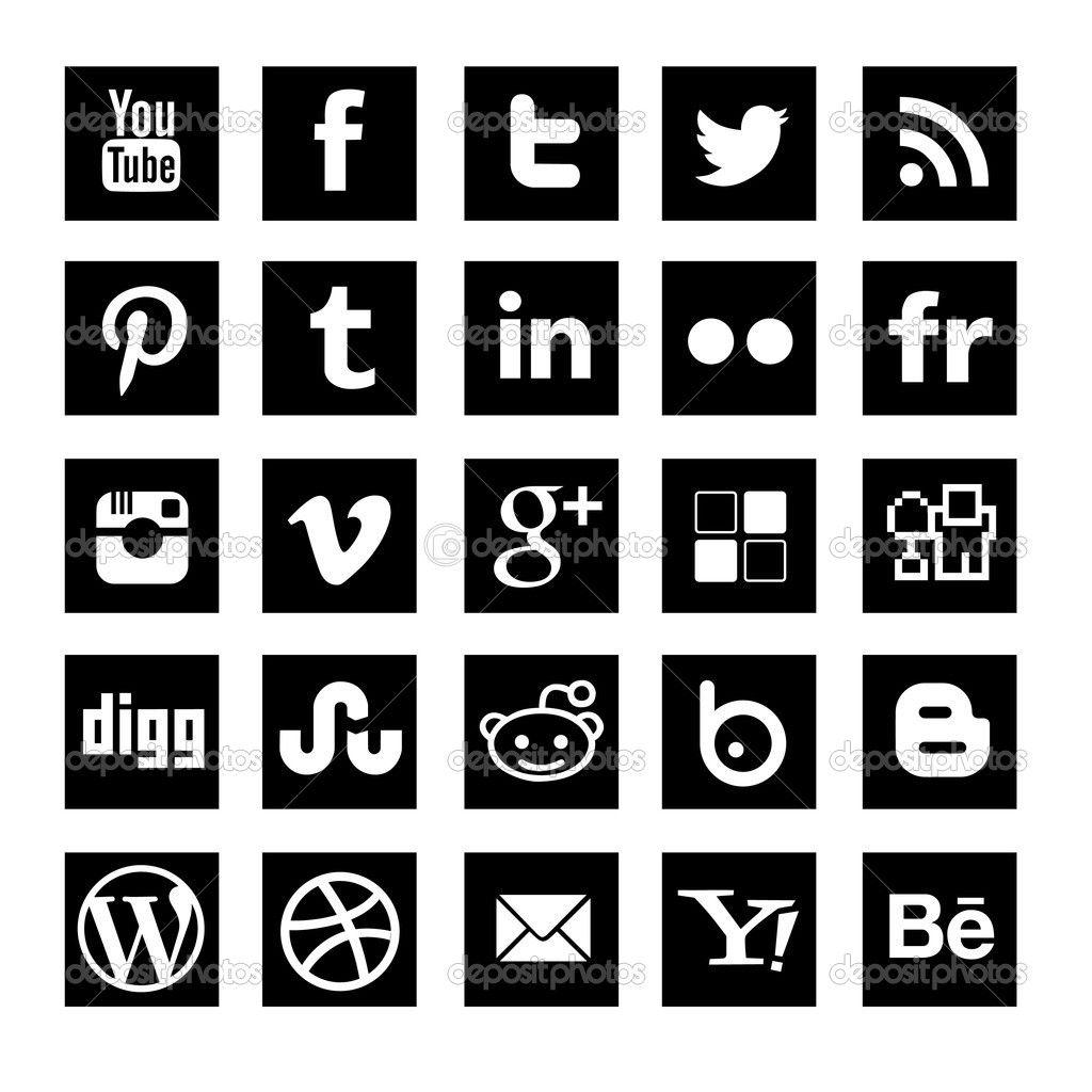 Vector Social Media Icons Black Square Social Media Icons Media Icon Social Media Icons Vector
