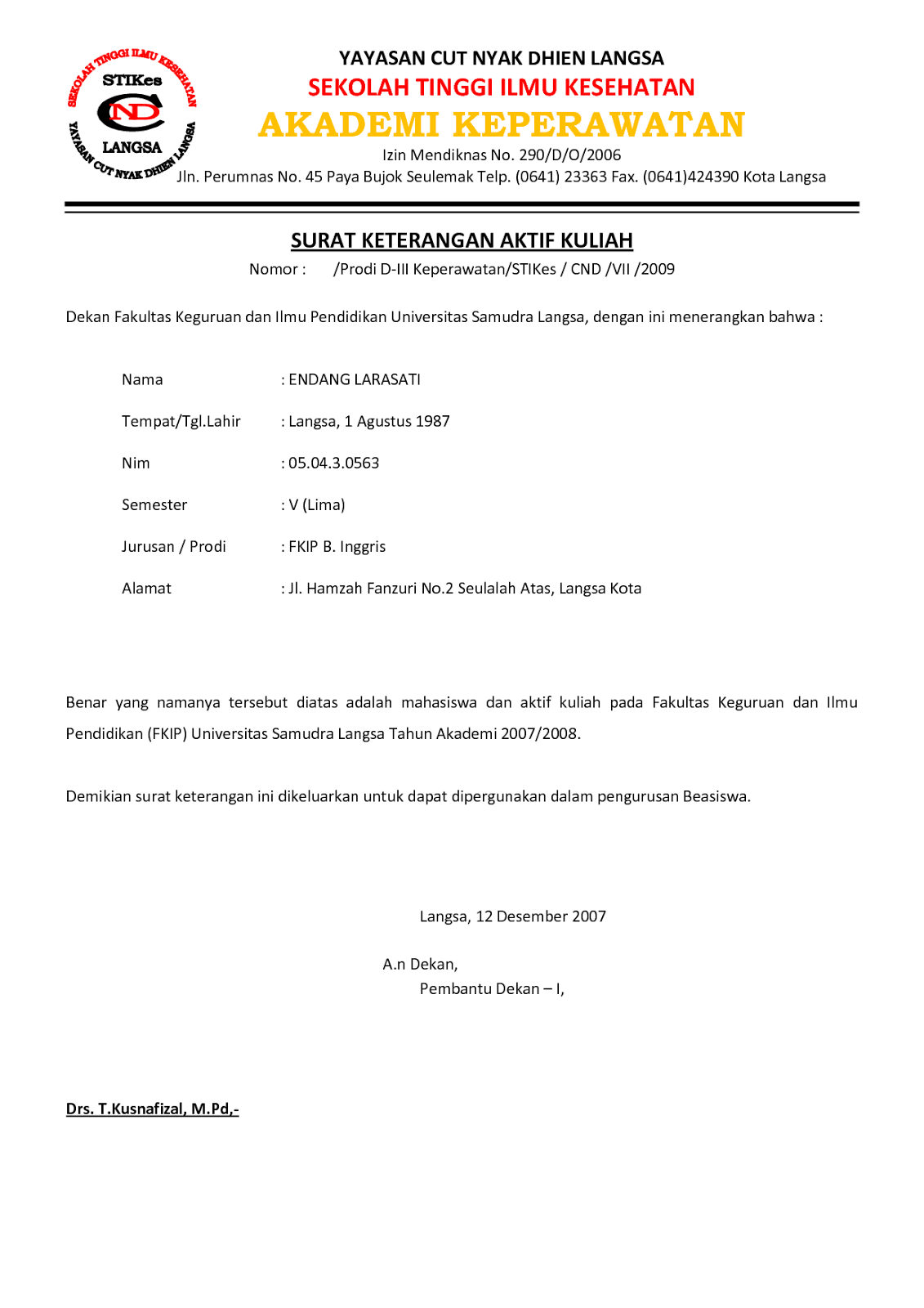 Contoh Surat Aktif Kuliah Unmul Global Images Post Date