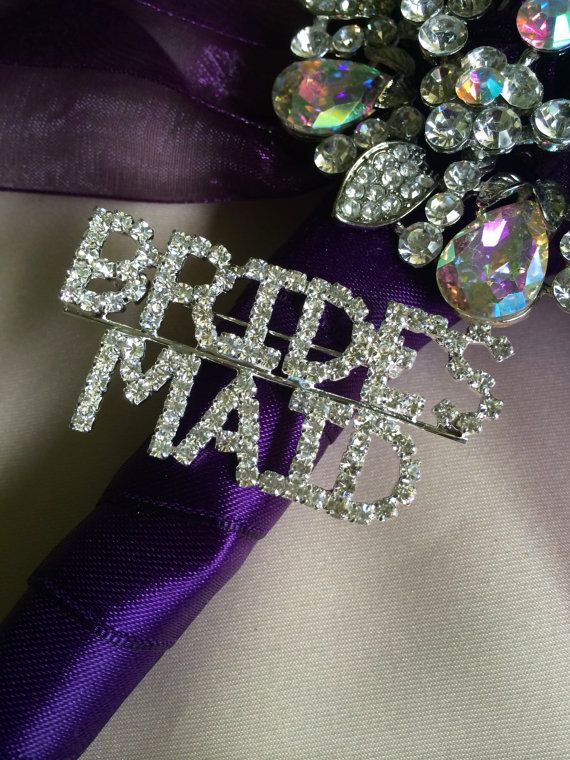 Brides Maid Rhinestone Brooch Pin Word Pin For Bridesmaid Gift Bridal Shower  Ideas Rehearsal Dinner Pin
