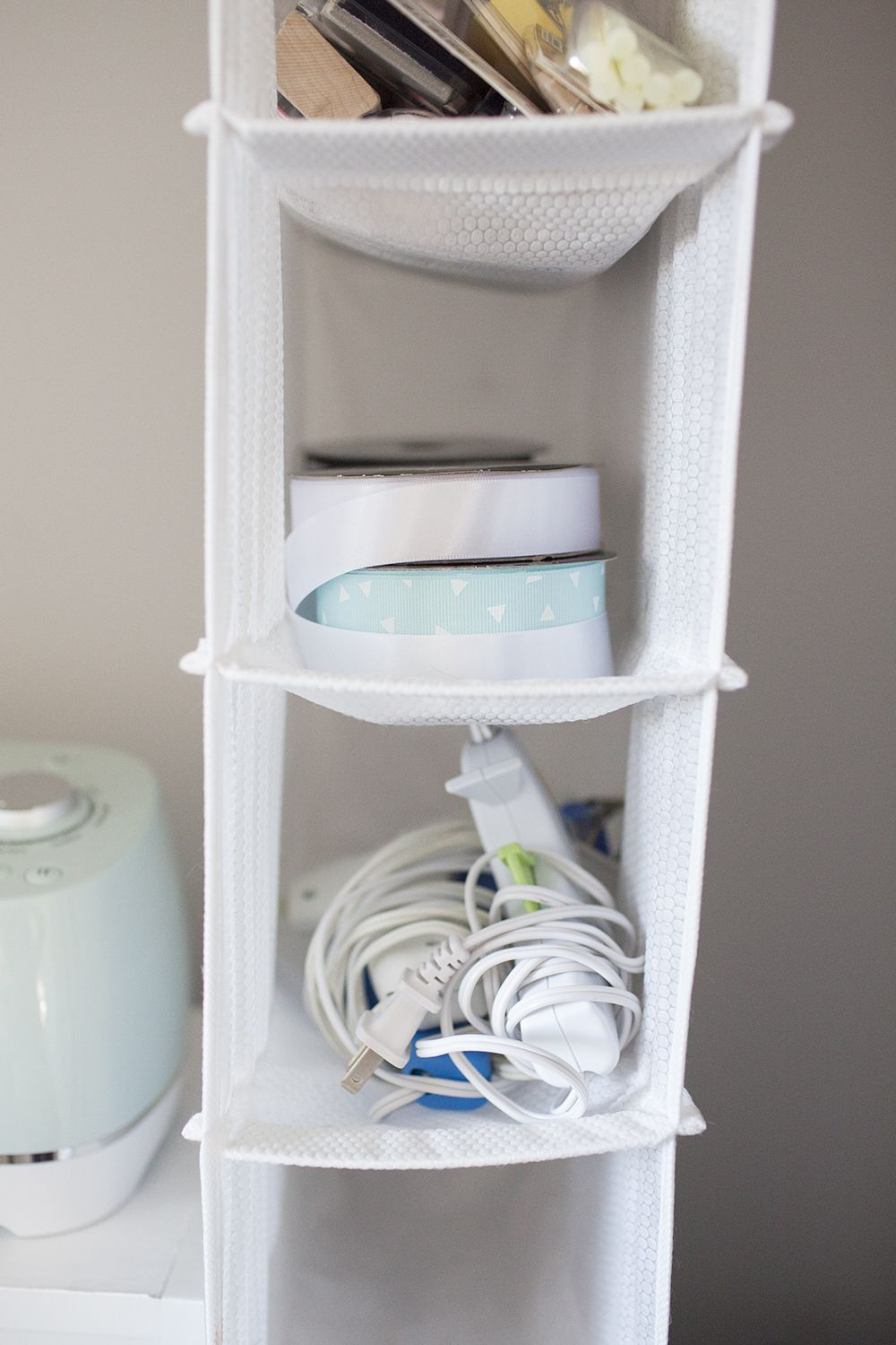 A Hanging Shoe Rack Becomes A Craft Closet Organizer. Each Rung Is  Dedicated To Something
