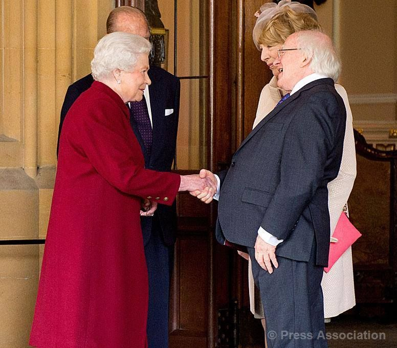 The Queen and The Duke of Edinburgh bid farewell to President and Mrs Higgins at the end of the Irish State Visit, 11 April 2014