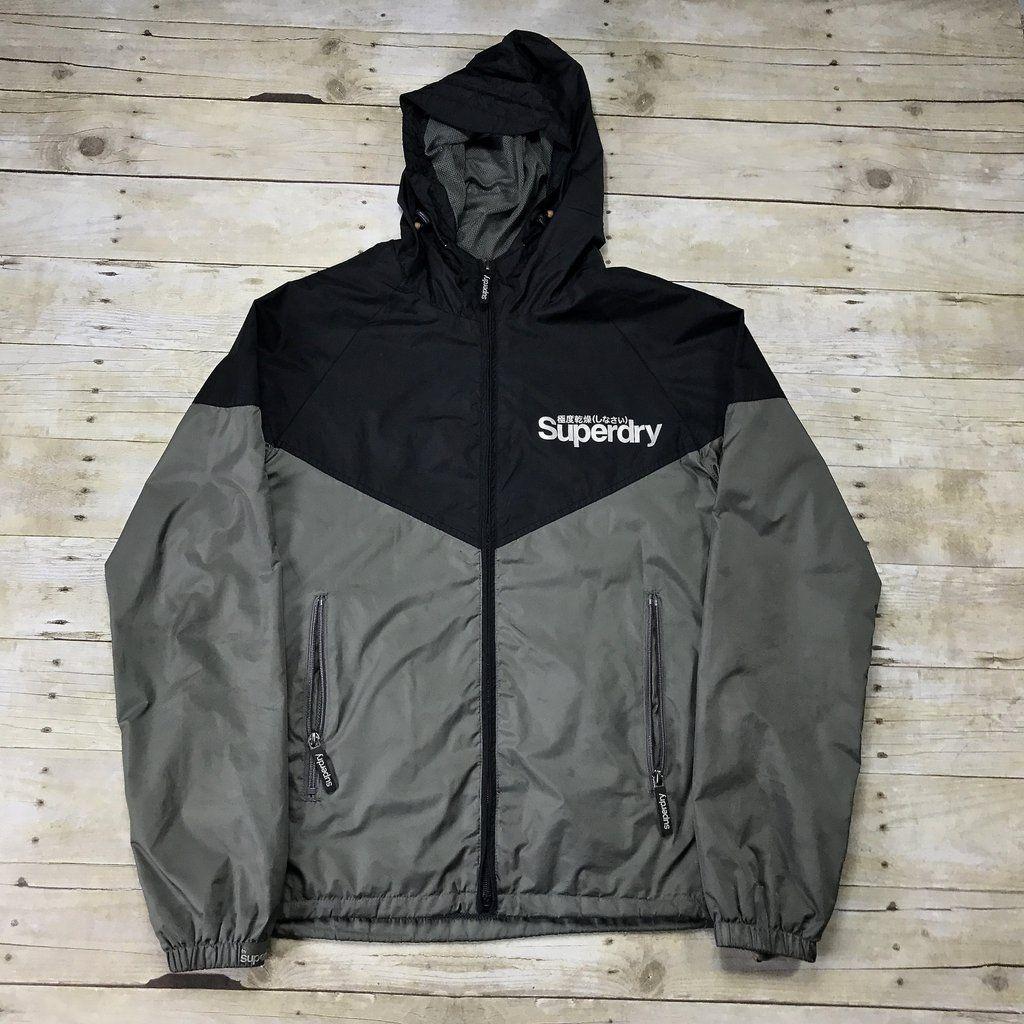 Superdry Sport Black/Gray Windbreaker Jacket Mens Size