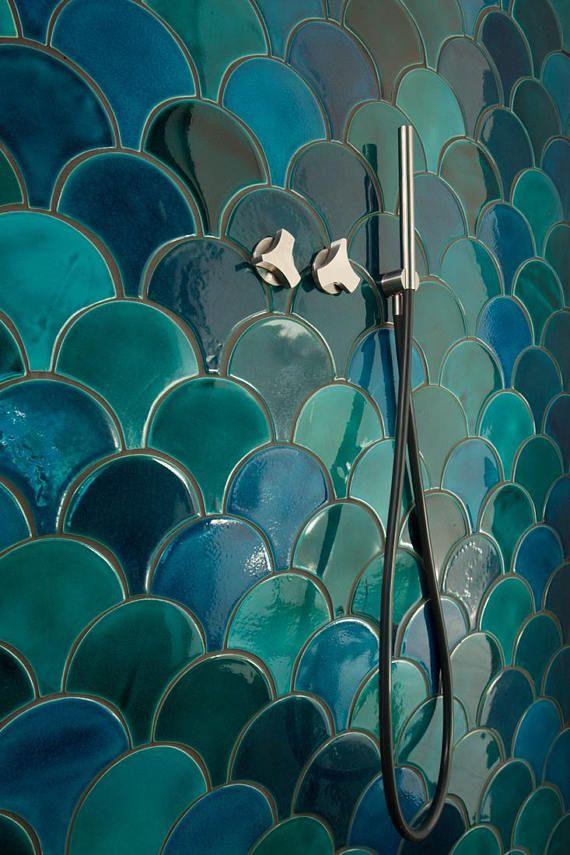 Maroc Fish Scale Ceramic Tile Mix Dark Turquoise Crackle Et