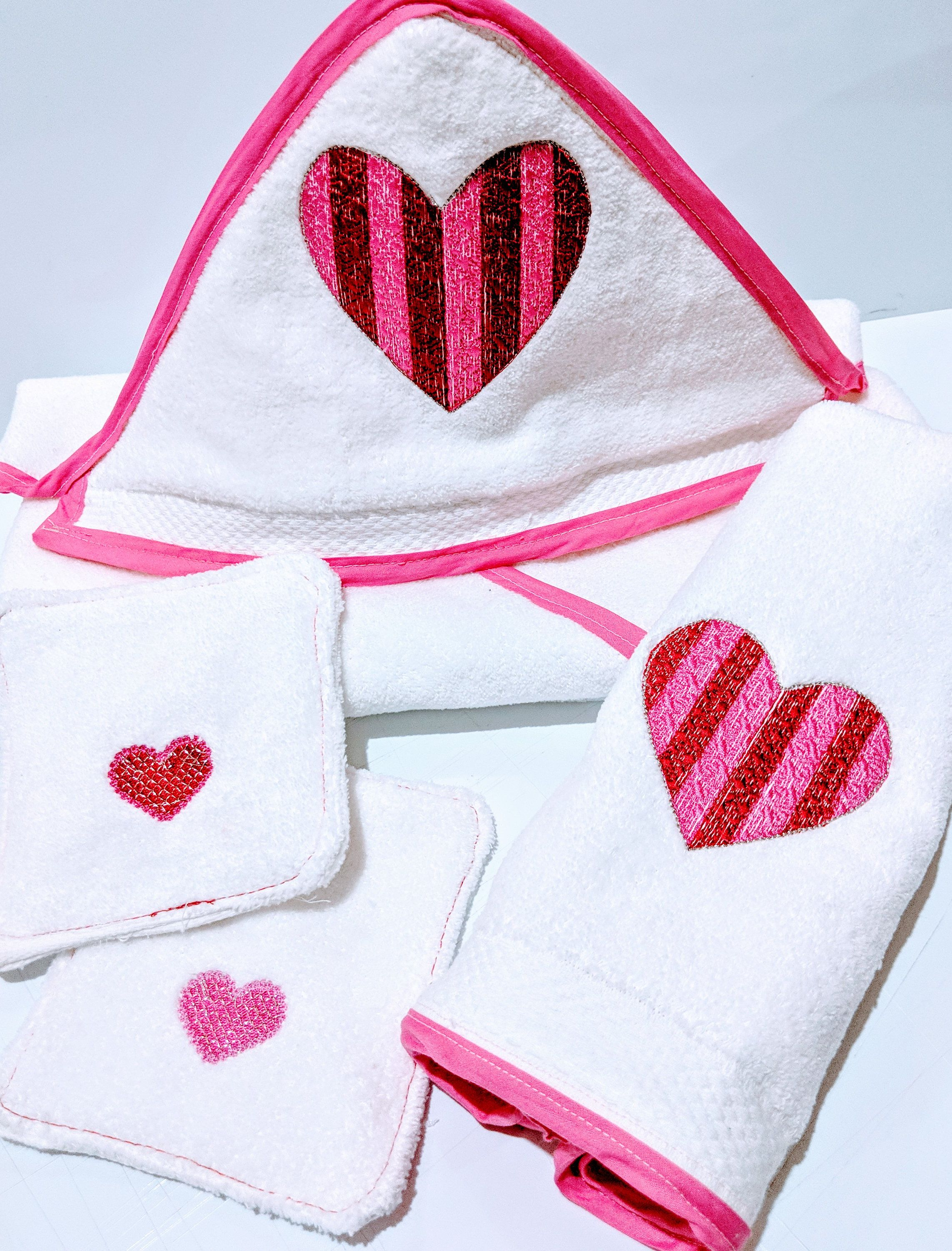 Handmade Embroidered Hooded Baby Towel Gift Set Baby Towels