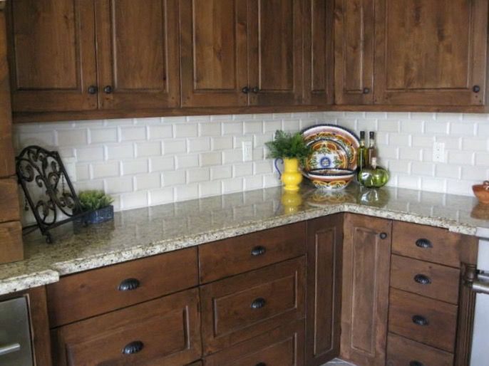 Knotty Alder With White Subway Tile Stained Kitchen Cabinets Walnut Kitchen Cabinets Refacing Kitchen Cabinets