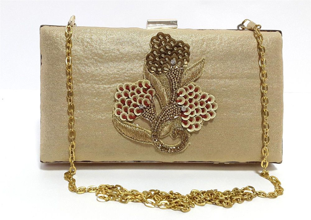 Women Girl wedding Party Club Evening Gold Clutch Wallet Purse ...