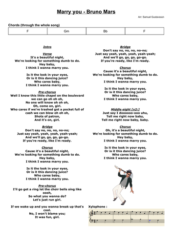 Marry you - Bruno Mars - Chords and score for band and singer | M ...